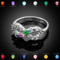 Gold Infinity CZ Four 4-Birthstone Ring