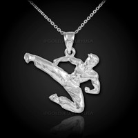 Karate White Gold Sports Pendant Necklace