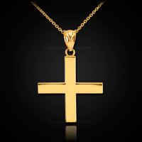 Gold Greek Cross Pendant Necklace