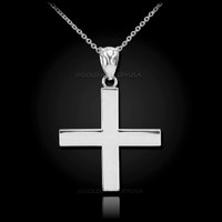 White Gold Greek Cross Pendant Necklace