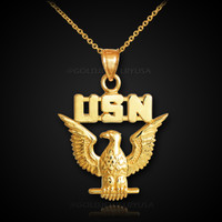 Gold US Navy necklace