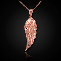 Diamond-cut rose gold angel wing pendant necklace. Rose Gold wing pendant.