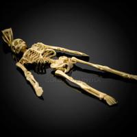 Diamond-Cut Gold 3D Skeleton Dangle Pendant