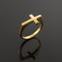 Solid Gold Flat Top Sideways Cross Ring