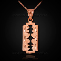 Rose Gold Razor Blade Pendant Necklace