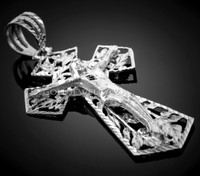 Men's White Gold Crucifix Pendant