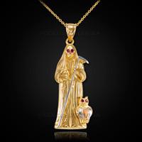 Gold santa muerte red cz pendant necklace gold santa muerte necklace mozeypictures Images