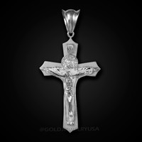 White Gold Holy Trinity Crucifix Cross CZ Pendant