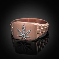 Rose Gold Marijuana Ring