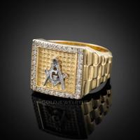 Gold Masonic Square CZ Mens Watchband Ring