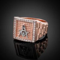 Rose Gold Masonic Square CZ Mens Watchband Ring