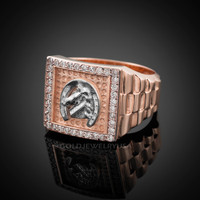 Rose Gold Horseshoe Men's CZ Ring.