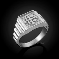 White Gold Jerusalem 'Crusaders' Cross Ring
