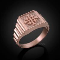 Rose Gold Jerusalem 'Crusaders' Cross Ring