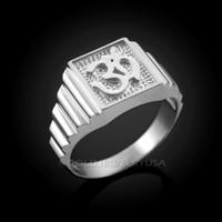 White Gold Om Ring
