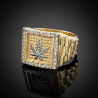 Gold Marijuana CZ Ring