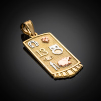 Solid Yellow Gold Lucky Pendant Necklace