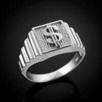 White Gold Dollar Sign Square Mens Ring