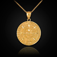 Gold Aztec Calendar Necklace