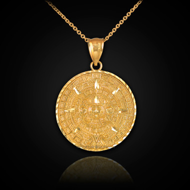 Gold aztec mayan sun calendar necklace gold aztec calendar necklace aloadofball Image collections