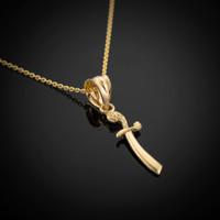 Gold Scimitar Knife Necklace