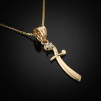 Gold Scimitar CZ Charm Necklace
