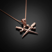 Rose Gold Crossing Daggers Charm Necklace