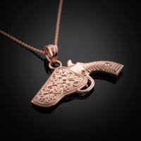 Rose Gold Holstered Pistol Gun Necklace
