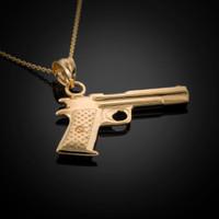 Yellow Gold Pistol Gun Necklace