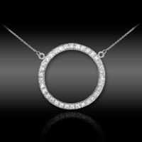14K White Gold Eternity Circle of Life Diamond Karma Ring Necklace