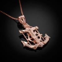 Rose Gold Mariner Crucifix Cross Pendant Necklace