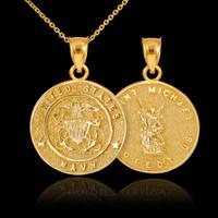 Gold US Navy Pendant. St. Michael Pendant.