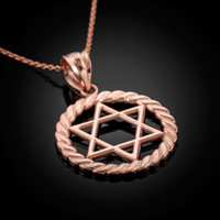 Rose Gold Star of David Pendant Necklace