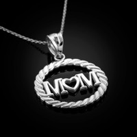 White Gold MOM Pendant Necklace. Mother's day gift!