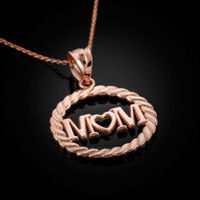 Rose Gold MOM Pendant Necklace. Mother's day gift!