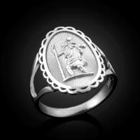 White Gold St. Christopher Ring