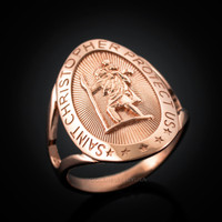 Rose Gold St. Christopher Ring