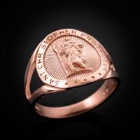 Rose Gold St. Christopher Ring