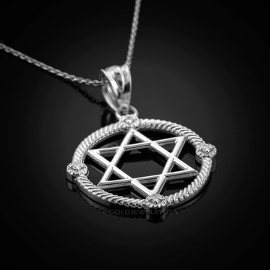 White gold star of david diamond pendant necklace aloadofball Images