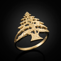 Gold Cedar Tree of Lebanon Ring