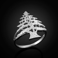 White Gold Cedar Tree of Lebanon Ring