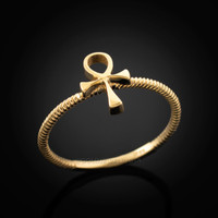 Ladies Gold Ankh Ring