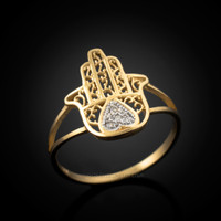 Diamond Hamsa Gold Ring