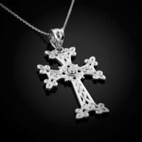 White Gold Armenian Cross Necklace