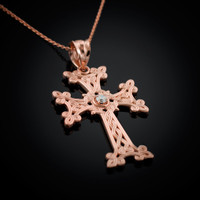 Rose Gold Armenian Cross Diamond Armenian Cross necklace