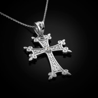 White Gold Armenian Cross Charm