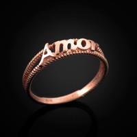 Rose gold Amor ring