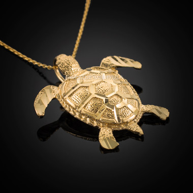 Gold sea turtle pendant necklace aloadofball Choice Image