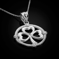 White Gold Shamrock Necklace