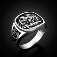 White gold masonic ring